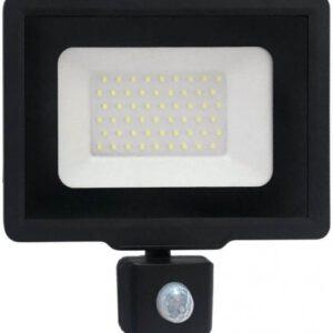 גוף תאורה הצפה עם חיישן שחור MIRAGE 1P65 50W 6000K